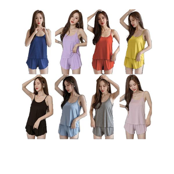 💥YH#5885💥 ชุดนอนสตรี ชุดนอนสไตล์มินิมอล เซตชุดนอนผ้านุ่มผ้าดีใส่สบายๆ ชุดนอนสายเดี่ยว+กางเกงขาสั้น 8สี