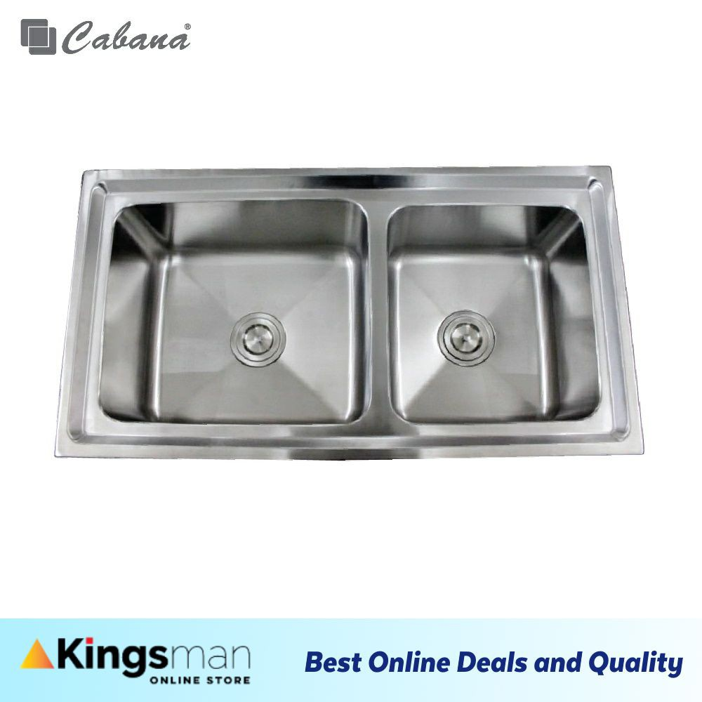 [Kingsman] Top mount Stainless Steel 304 Cabana Home Living Kitchen Sink Double Bowl Ready Stock - CKS330