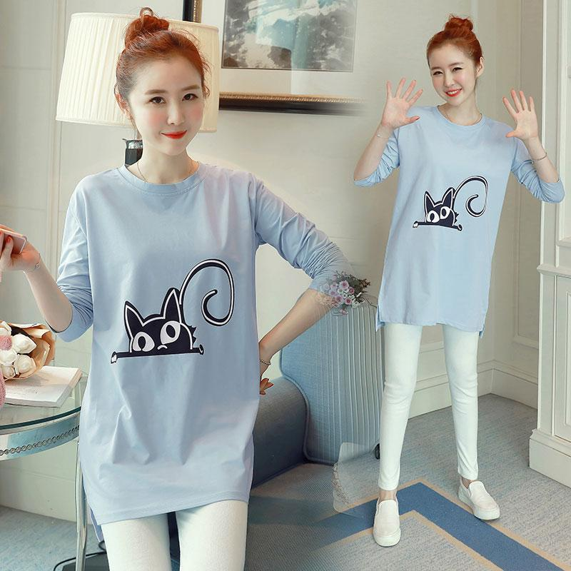 a27a4826f Maternity Wear Cotton Cartoon Loose Long Sleeves Dress for Pregnant Women |  Shopee Malaysia