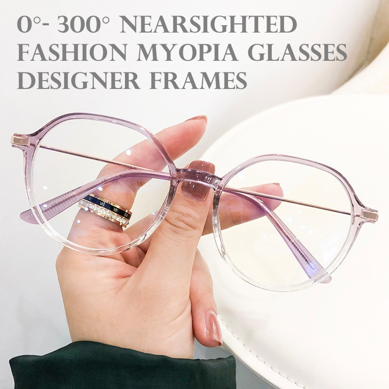 0° - 300° Nearsighted Myopia Glasses Frame with Degree, Anti Blue Light Eyeglasses Spectacles Frames Women Men
