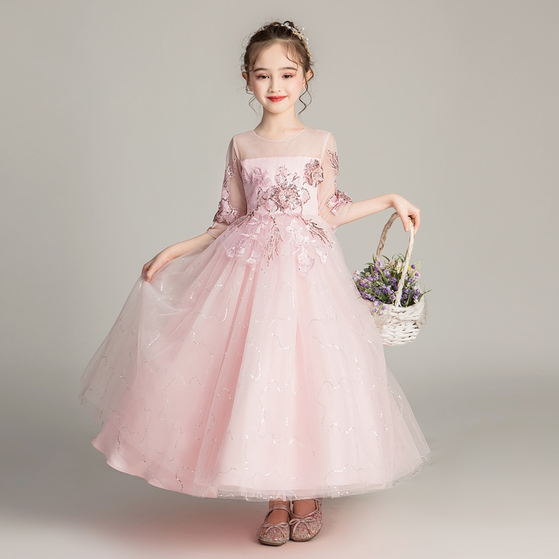 2 Pieces Satin Flower Girl Dress Christmas Princess Prom Birthday Party Dresses