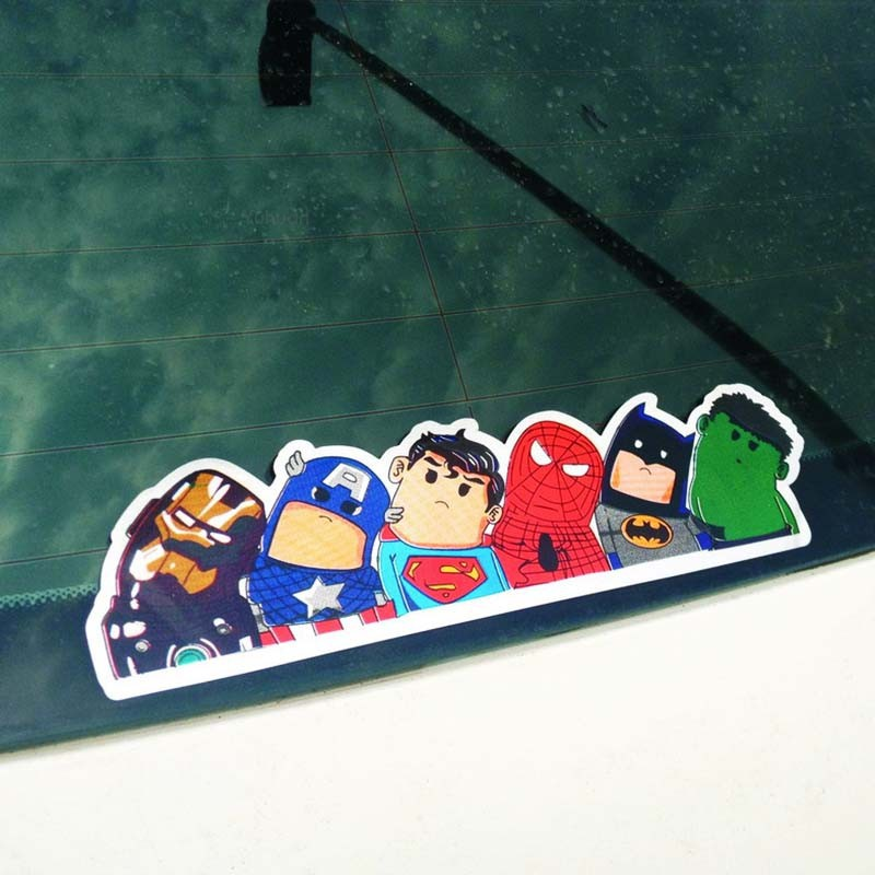 The Avengers Wry Neck Car Window Sticker  Cartoon Decal Reflective Vynil No Fade