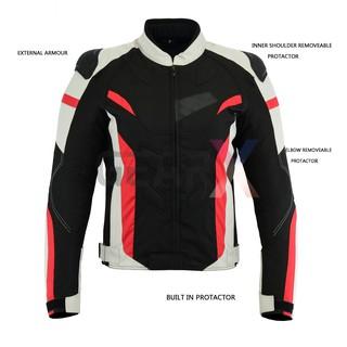 S LeatherTeknik MOTORCYCLE JACKET FOR MEN ARMORED PROTECTIVE BIKERS WATERPROOF HI VIZ JACKET BLACK ARMOR CJ-9435