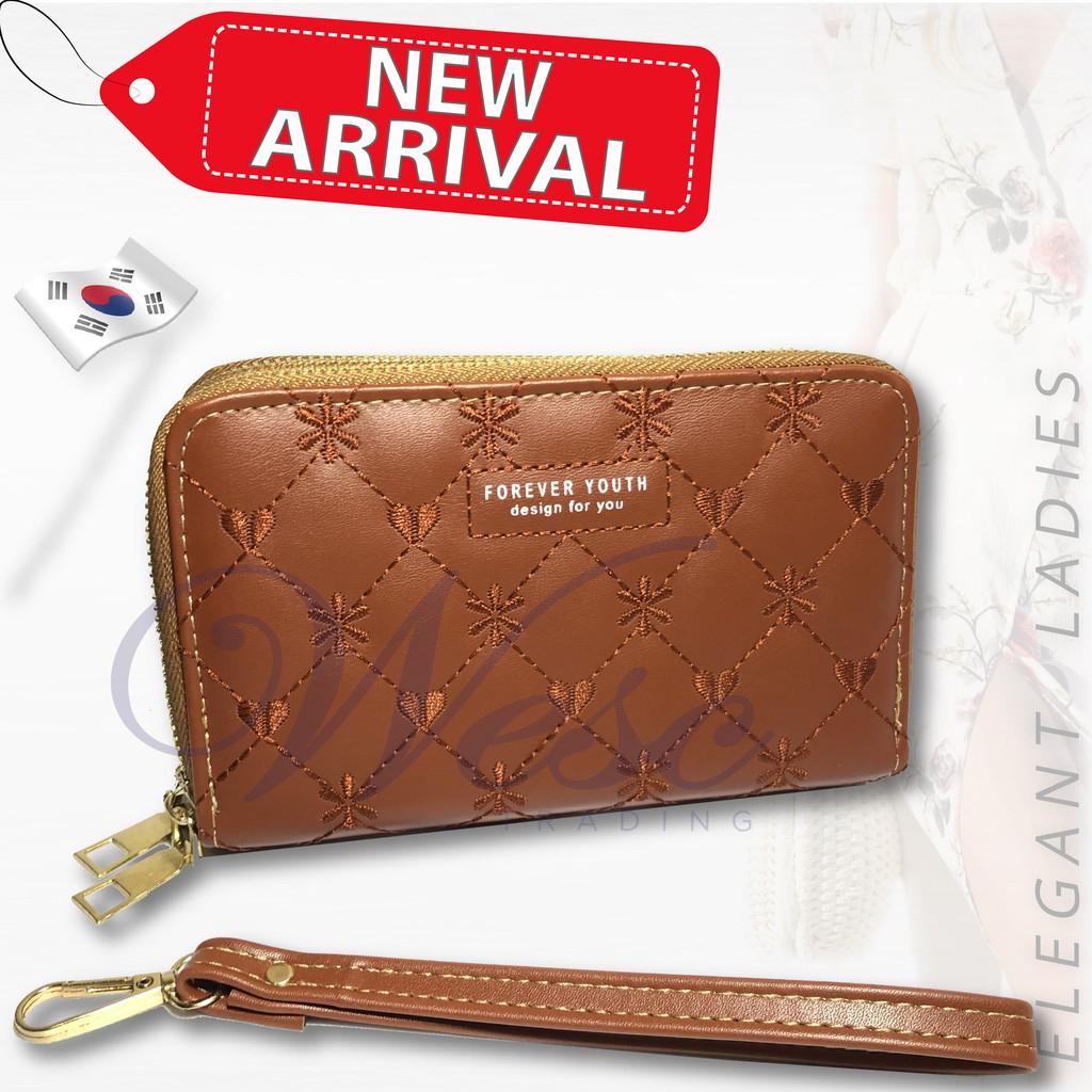 Korean Designer Trendy ALL-NEW 2-in-1 Long Zipper Purse / Women Wallet / Women Clutch / Purse (Light Brown)