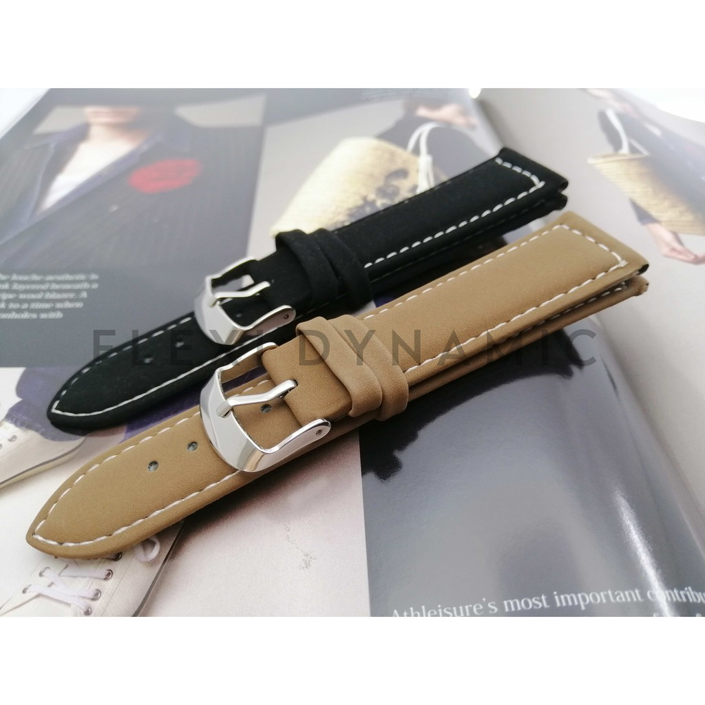 (Local Seller) 22mm Luxury Matte pattern Leather strap Watches band stainless steel Pin Buckle Wristwatch Strap