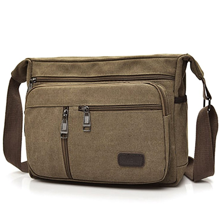 Retro Canvas Men Zipper Shoulder Messenger Bag