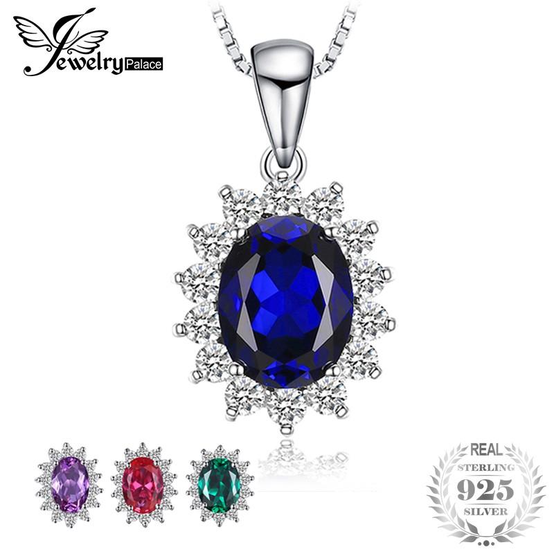 JewelryPalace 1.1ct Created Blue Sapphire Statement Ring 925 Sterling Silver