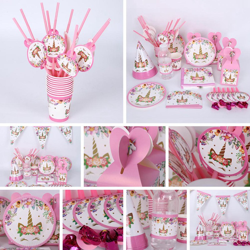 Pink Unicorn Sparkle Birthday Party Banner Supplies Tableware Decorations Cheap