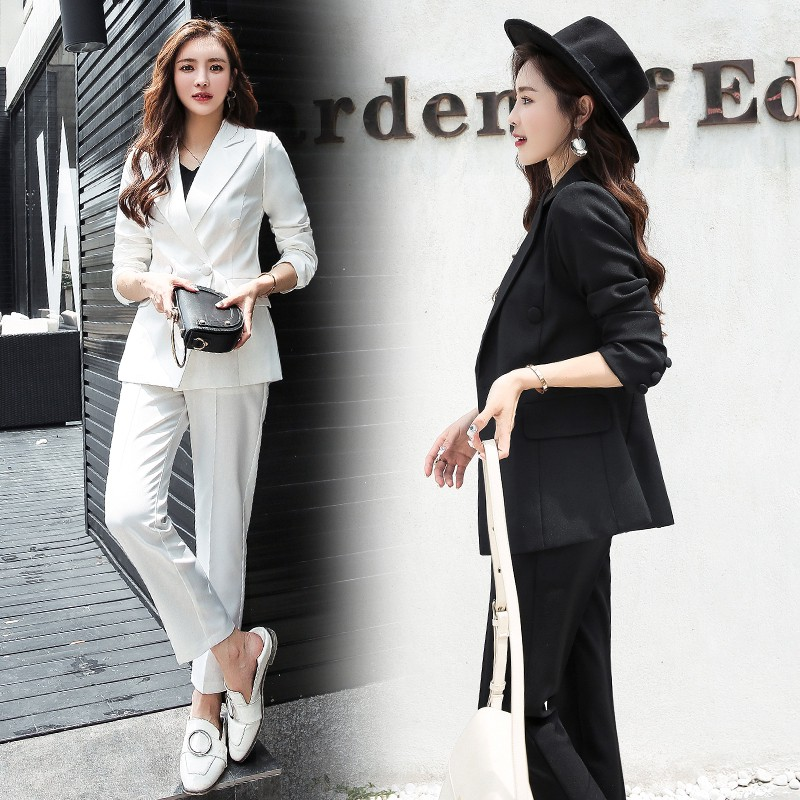 promo codes outlet on sale good selling Women Blazer Two-pices Fashion Korean Professional Suits Black ...