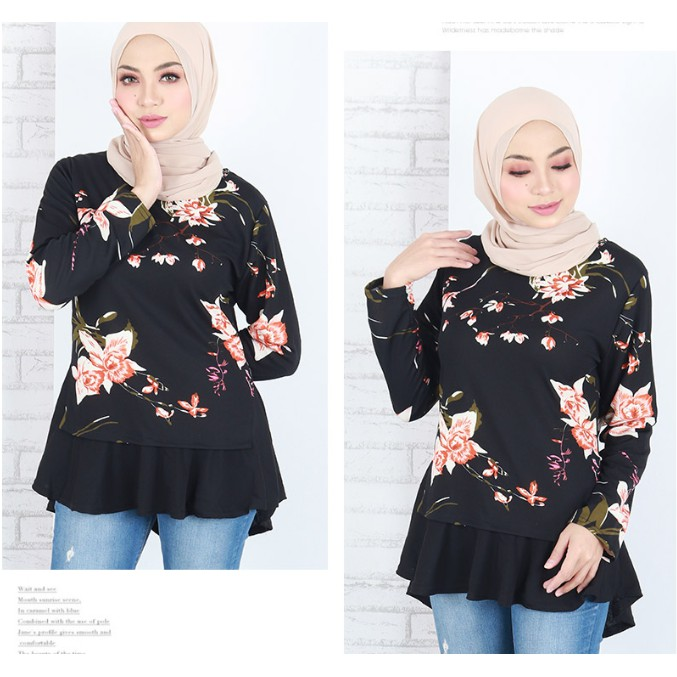 READY STOCK ] M-XL BLOUSE MODEN BERCORAK BUNGA KAIN COTTON / NORA FLARED PRINTED A LINE BLOUSE