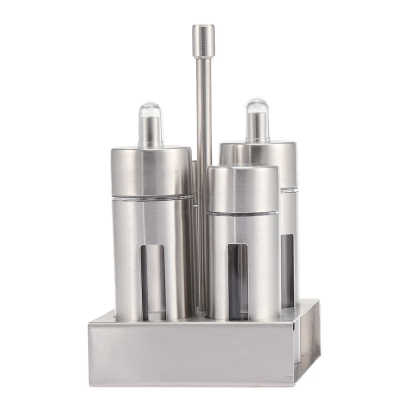 Kitchen Sauce Spice Stainless Steel Seasoning Bottle 4PCS (SILVER)
