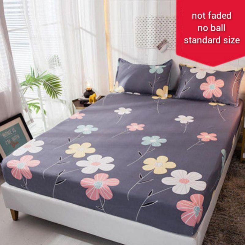 Single Size Fitted Bedsheet Set With Pillowcase Set Cadar Getah Dengan Sarung Bantal Saiz Single
