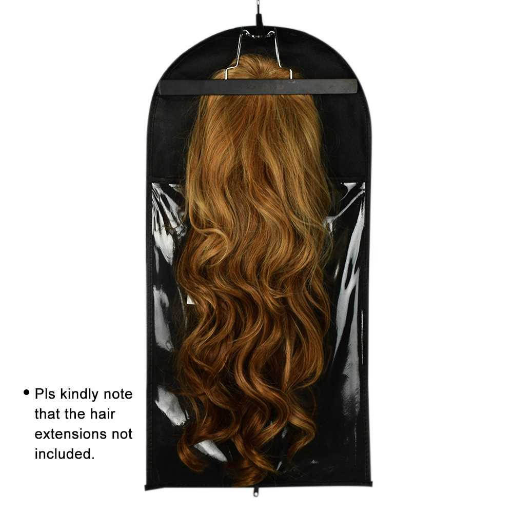 Hair Extensions Storage Bag With Metal Hanger Durable Carrier Case Zipper Design (Standard)