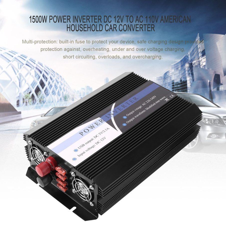 💕1500W Power Inverter DC 12V to AC 110V American Household Car Converter