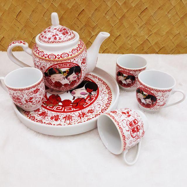🍵💏 Double Happiness Tea Pot Set / 双喜敬茶套 (1 pot + 4 cups + 1 plate) 💏☕