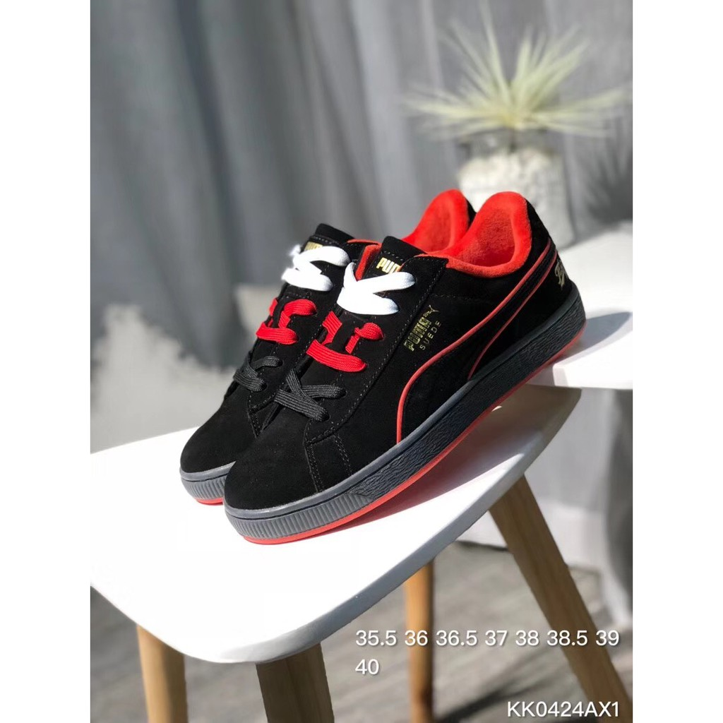 YT PUMA Suede Classic x FUBU joint 50th anniversary low shoes black red WOMEN