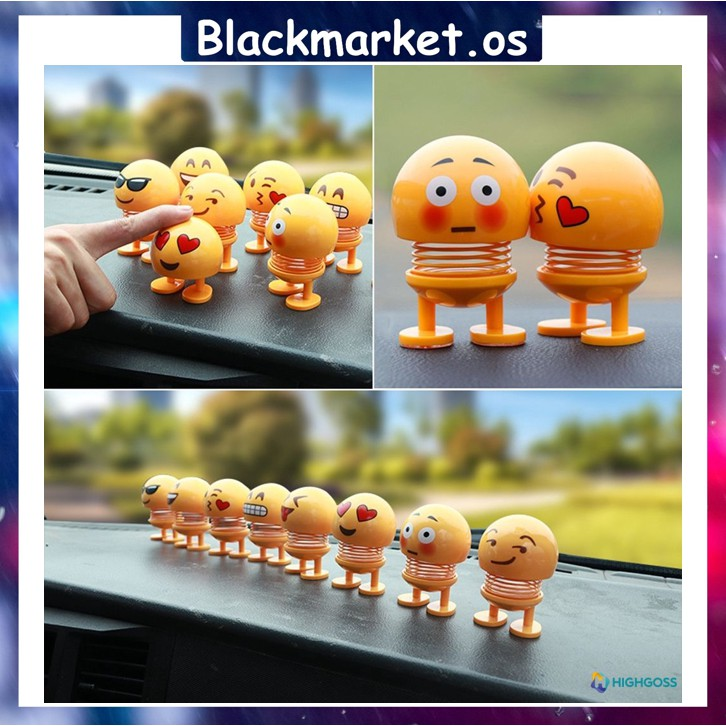 The Spring Head Emoticon Funny Doll Creative Spring Bouncing Shaking Head Car Pendant Emoji