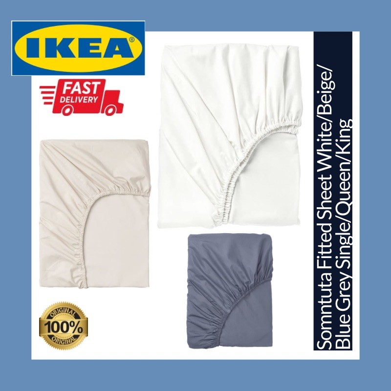 Ikea Somntuta Fitted Sheet 100 Cotton 400 Thread Count Plain Cadar Katil White Beige Blue Grey Single Queen King Bed Shopee Malaysia