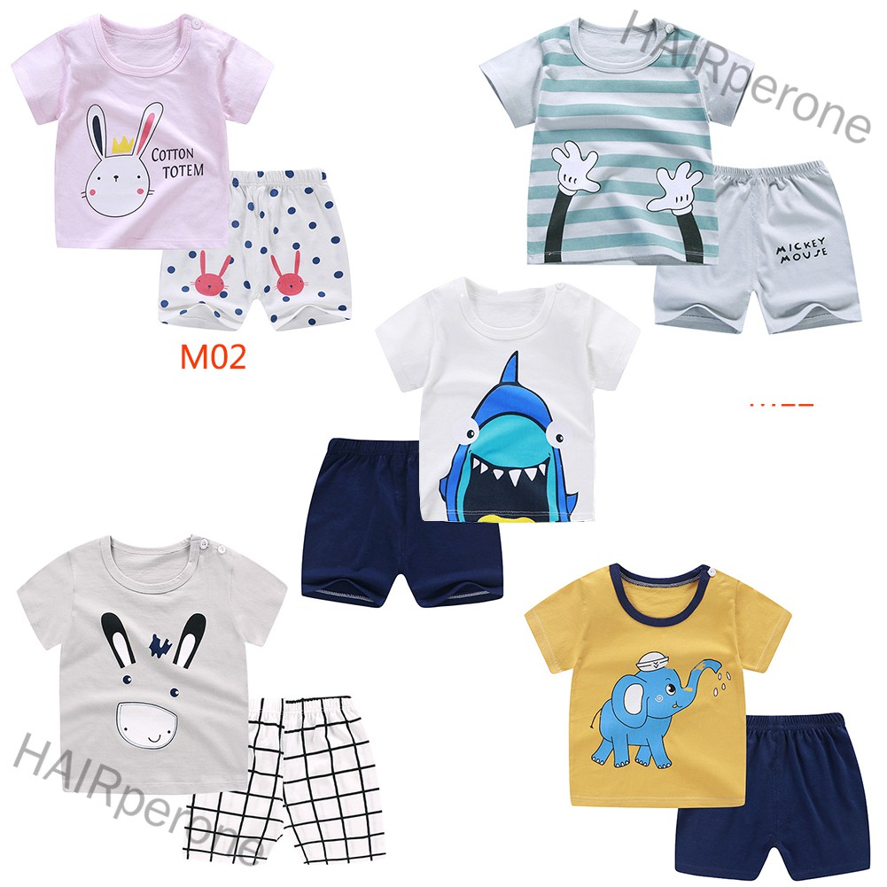 HAIRperone 2pcs/set Girls Boys Baby Cartoon Printing Short Sleeve Tops+Shorts Summer Suit