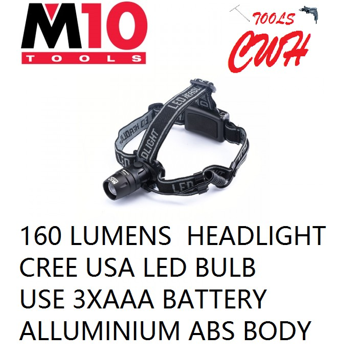 LE-343  3XAAA BATTERY 160 LUMENS M10 ALUMINIUM BODY FOCUS 3W LED HEAD LIGHT HEADLAMP TORCHLIGHT FLASHLIGHT NICRON LE343