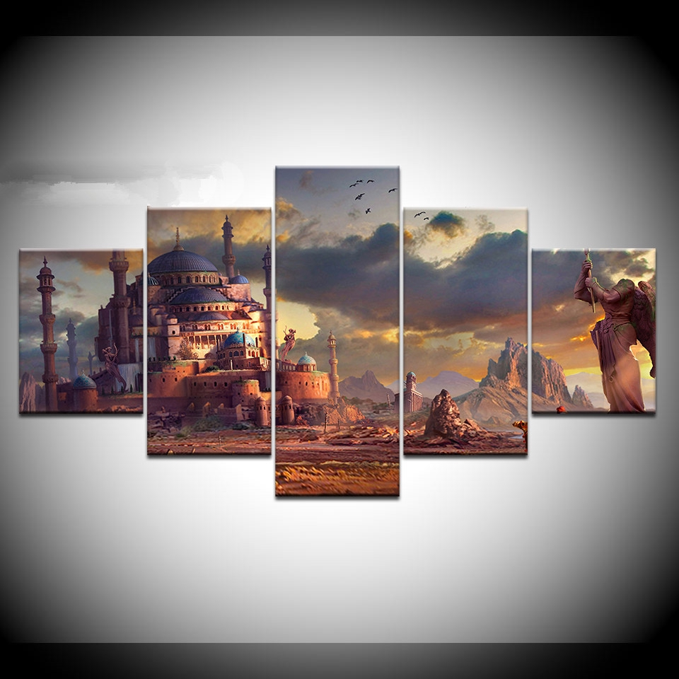 Frame 5 Pieces Canvas Painting Game Poster Minecraft Wall Art Home Decoration