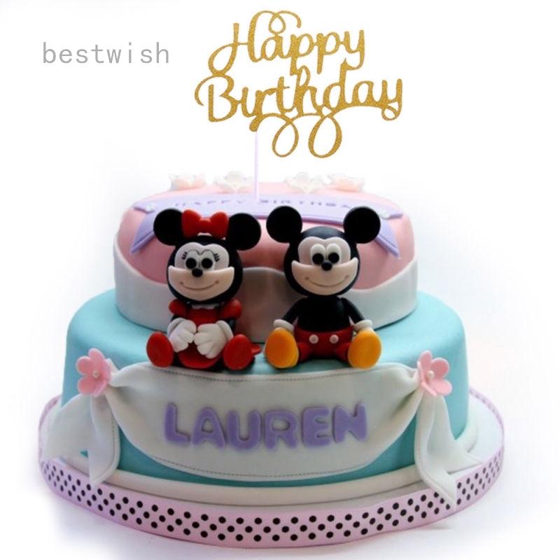 Stupendous Happy Birthday Cake Pick Topper Decoration Glitter Calligraphy Uk Personalised Birthday Cards Xaembasilily Jamesorg