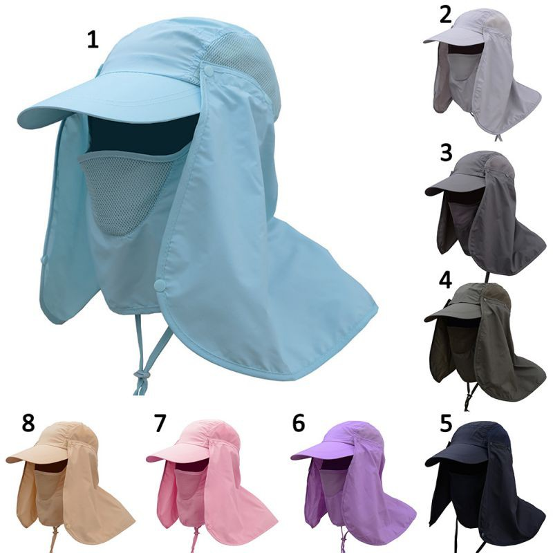 fdd74b65a49 Unisex Outdoor Face Neck Cover Sunshade Hat Cap Fishing Hiking Hat UV  Protection