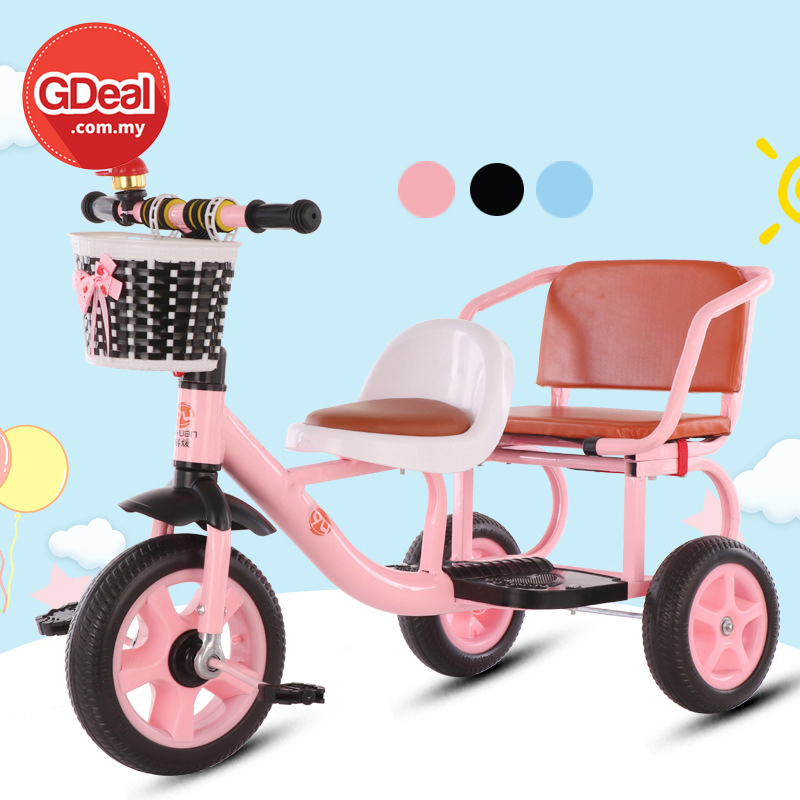 GDeal Baby Stroller Children Double Outdoor Kids Two Seater Tricycle Basikal Tiga Roda باسيكل تيڬ رود