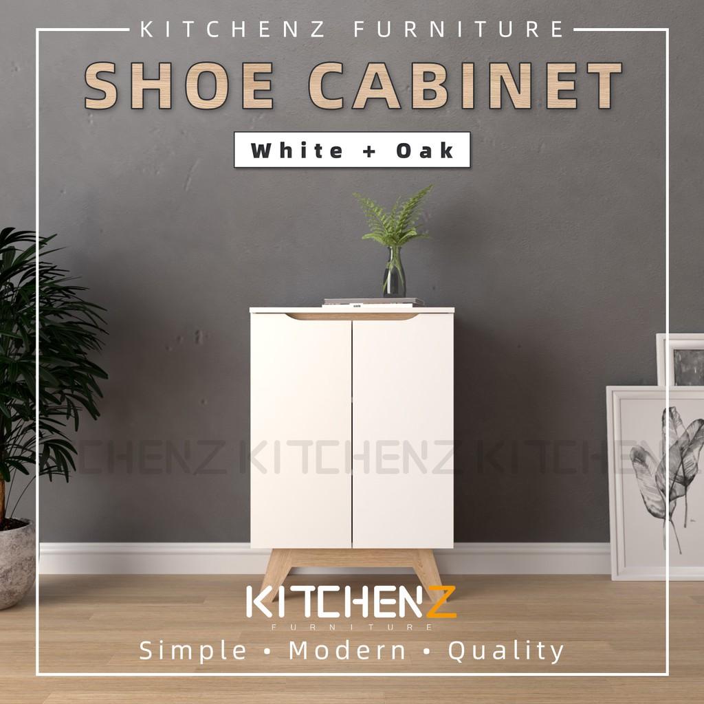 KitchenZ Simona Series Shoe Cabinet Modernist Design Solid Board Shoe Rack / Rak Kasut - HMZ-FN-SR-8860-WT