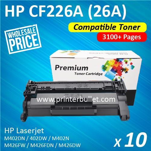 10 unit HP CF226A / 26A / CF-226A High Quality Compatible Laser Toner Cartridge