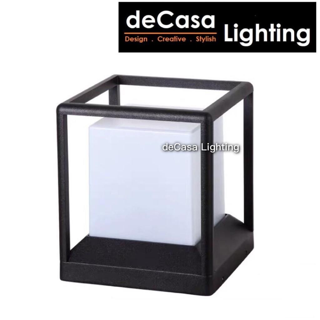 [Set With 12w Led Bulb] L Size Black Cube Outdoor Pillar Light Decasa Lighting Outdoor Gate Lamp Lampu Pagar G1391