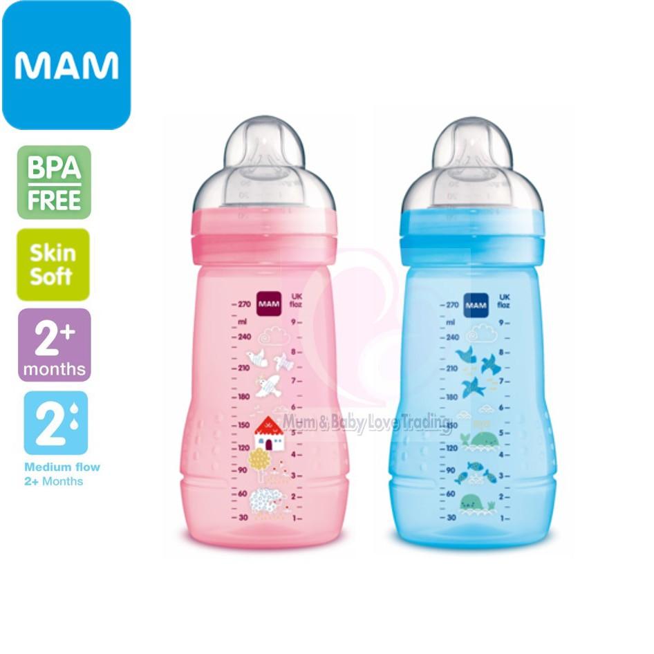 MAM Easy Active Baby Bottle Medium Flow 270ml Pack of 2 Pink