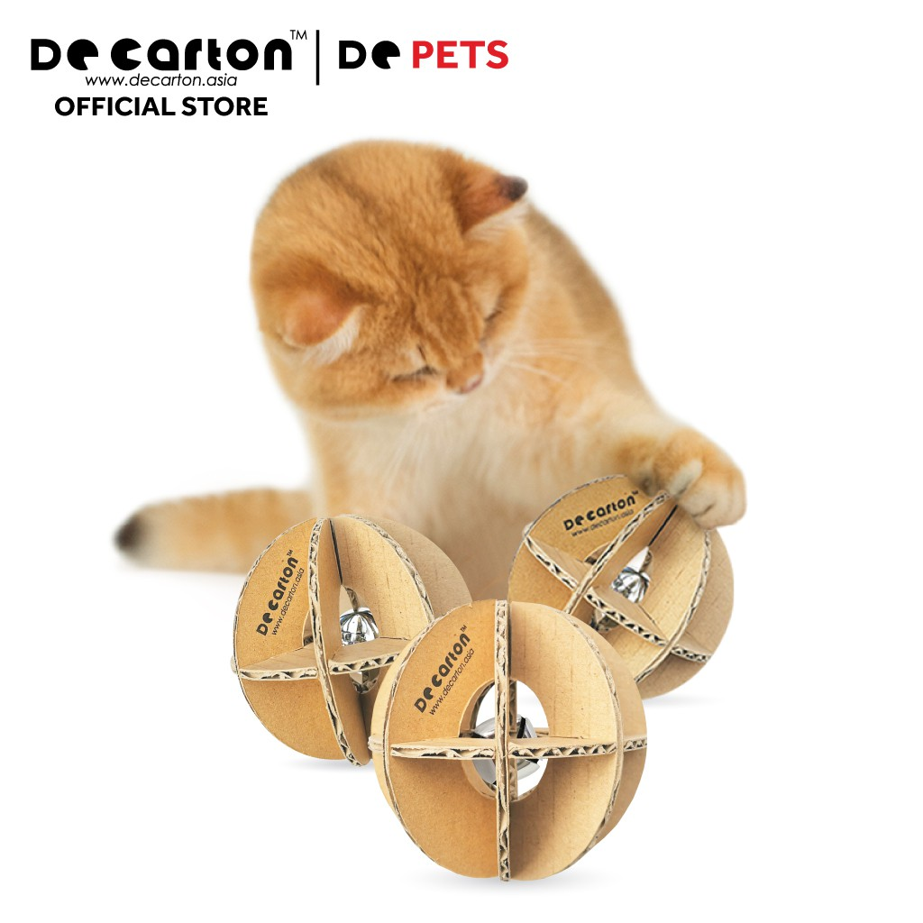 De Carton Cardboard Tinkle Bell Ball Cat Toy (Set of 3) Bola Kucing