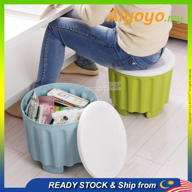 Round Storage Stool Plastic Seat Storage Chair Kerusi Plastik Bekas Simpan Mainan Container Box Creative Chair Multifunc