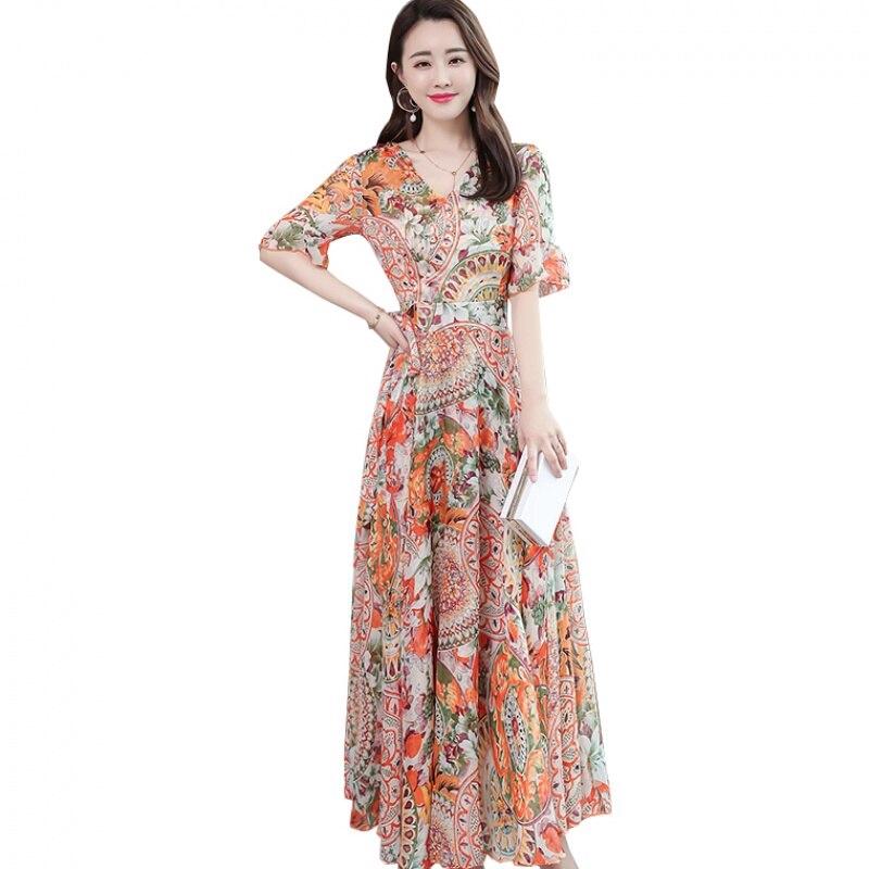 189f9e21c2285 Woman Summer New Floral Trumpet Sleeves Big Swing A Line Sweet Bohemian  Dress