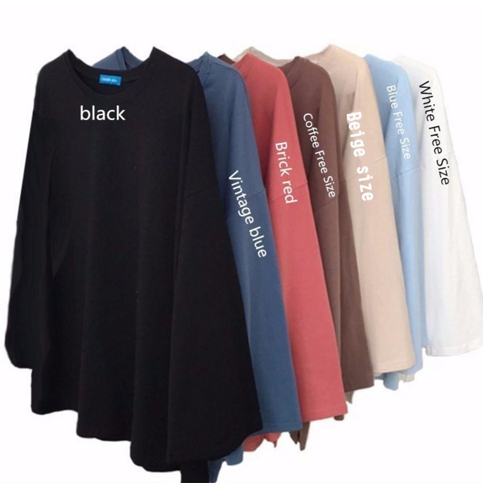 07b914a17c2 READY STOCK Women Clothing Plain Loose Long Sleeve T-Shirt