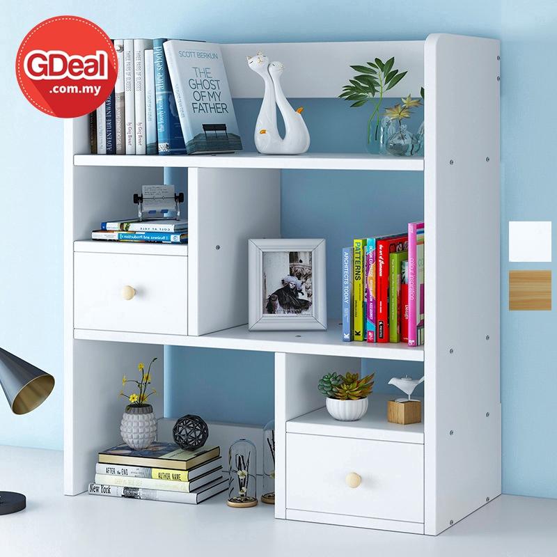 GDeal Student Desktop Simple Bookcase Modern Space Saving Book Organizer Rak Buku رق بوكو