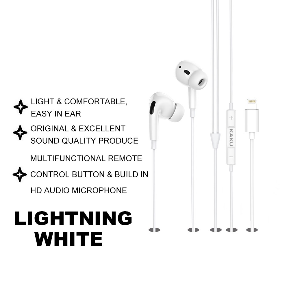 IKAKU KAKU SHENGMAN In Ear Earphone Earbuds Type C Lightning 3.5mm Audio High Definition Stereo Sound Smartphone Android