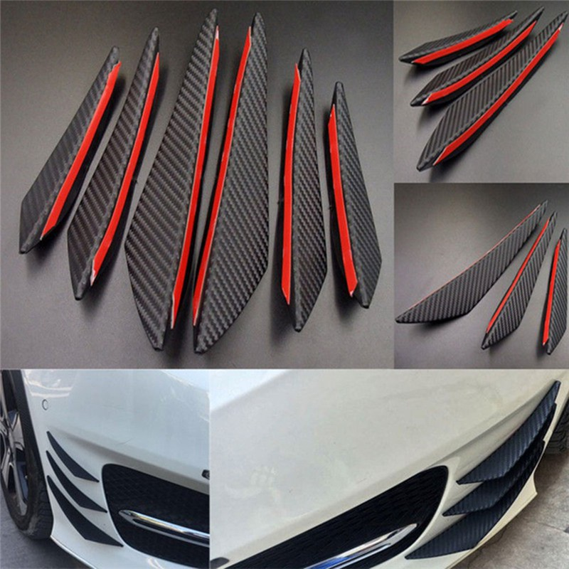 6Pcs Carbon Fiber Style Car Front Bumper Lip Splitter Body Spoiler Canards