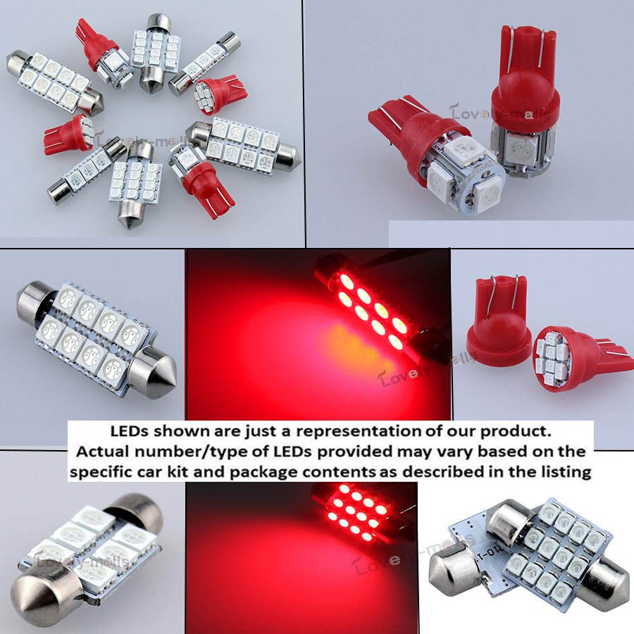 Deluxe Red Light SMD Car Interior LED Package 8pcs Kit For Subaru WRX STi 04-15