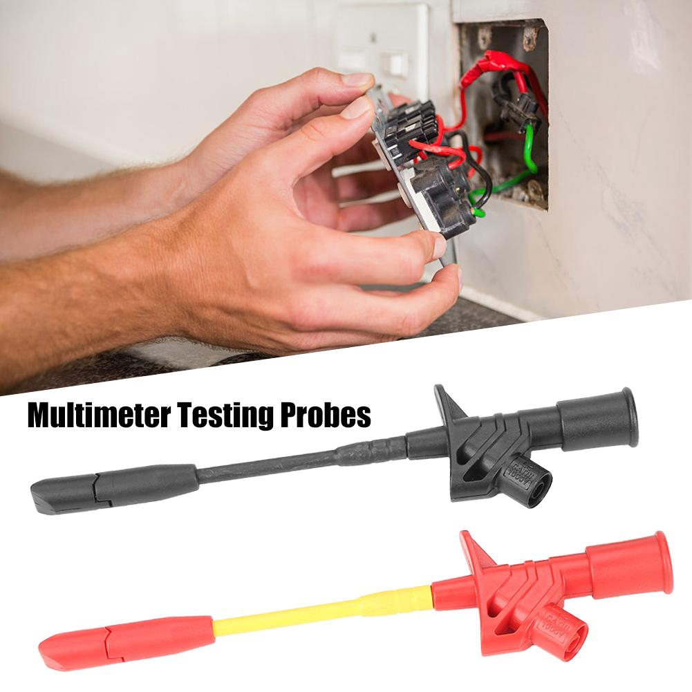 Multimeter Testing Probes P5005 2pcs Fully Insulated Quick Piercing Test Needle Hook Multimeter Testing Probes 4mm Socket Electric Testers Quick Piercing Test Needle