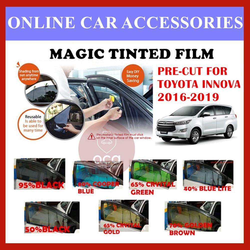 Toyota Innova 2016-2019  - Pre-Cut Shape Magic Tinted Solar Tinted (4 Windows & 2 Triangle /4 Windows+Rear)