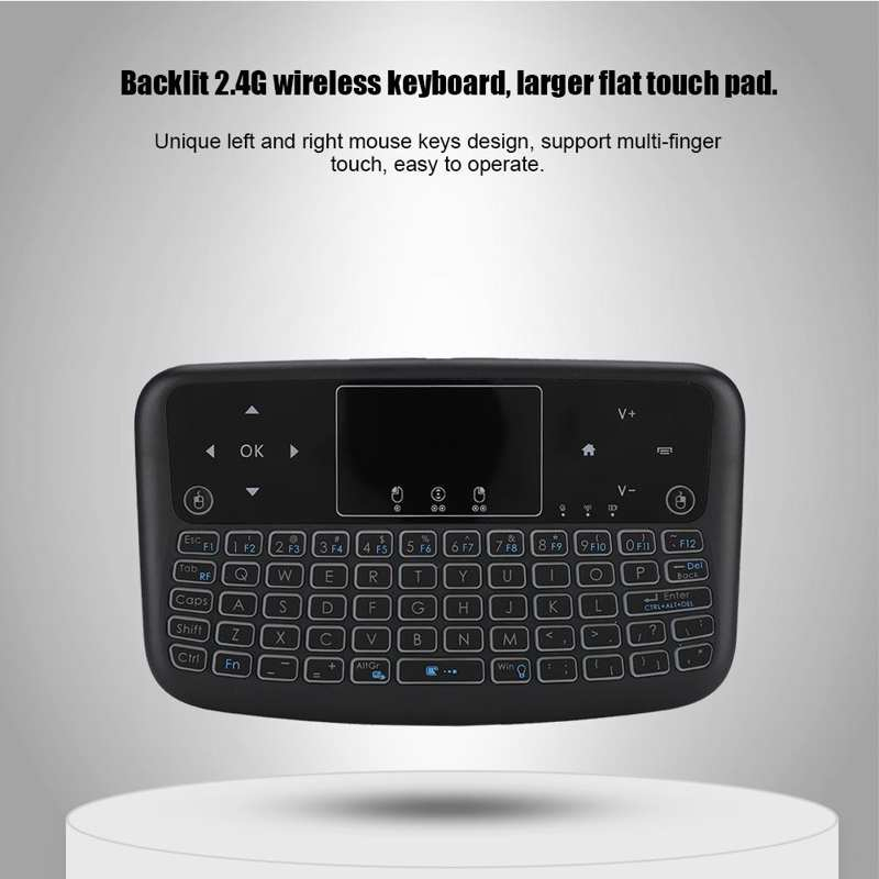 Mini Touch Flat Backlight 2.4G Keyboard Button with Multimedia Controls and PC Game Controls Wireless Keyboard Left and Right Mouse Keys Wireless Keyboard Touch Pad
