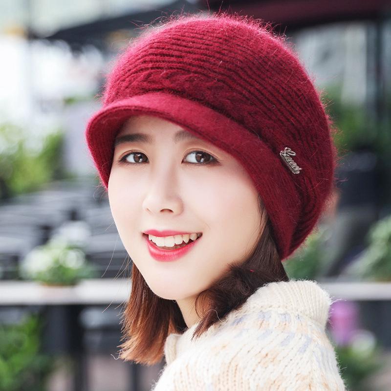 790b710d12416b Female Winter Women Knitted Berets Rabbit Hair Hat Velvet Ear Protection Hat    Shopee Malaysia