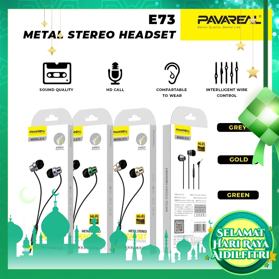 PAVAREAL PA-E73 Subwoofer Headset Strong Bass In-Ear Headphones HiFi Metal Stereo with HD Mic for Music Gaming Oppo Vivo