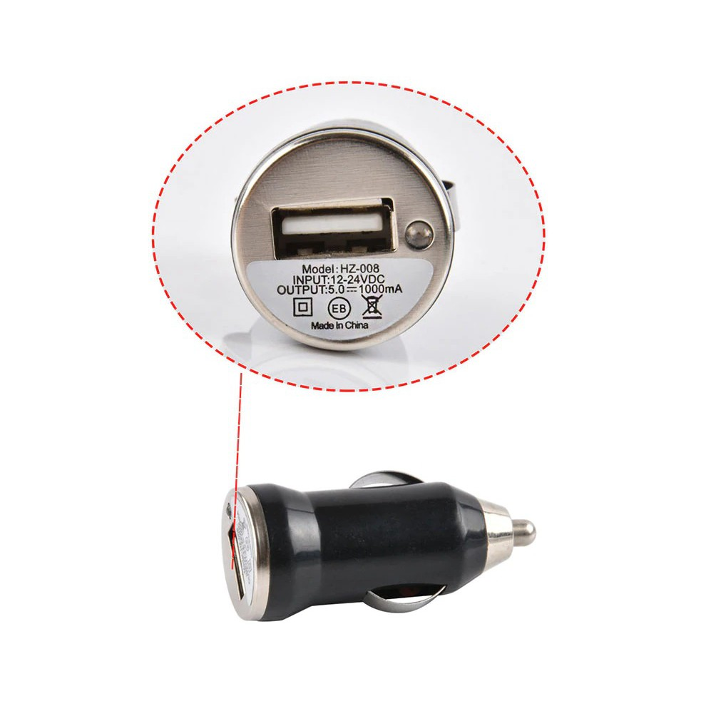 1.0A Single USB Port Simple Design in Car Charger