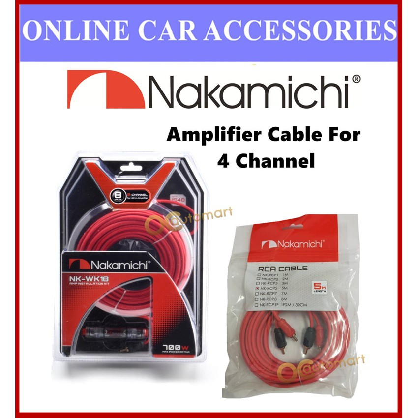 Nakamichi 4 Channel Cable Set 8GA Wiring Kit NK-WK18 With NK-RCP5 5 Meter RCA Cable Set For Amplifier 4-Channel