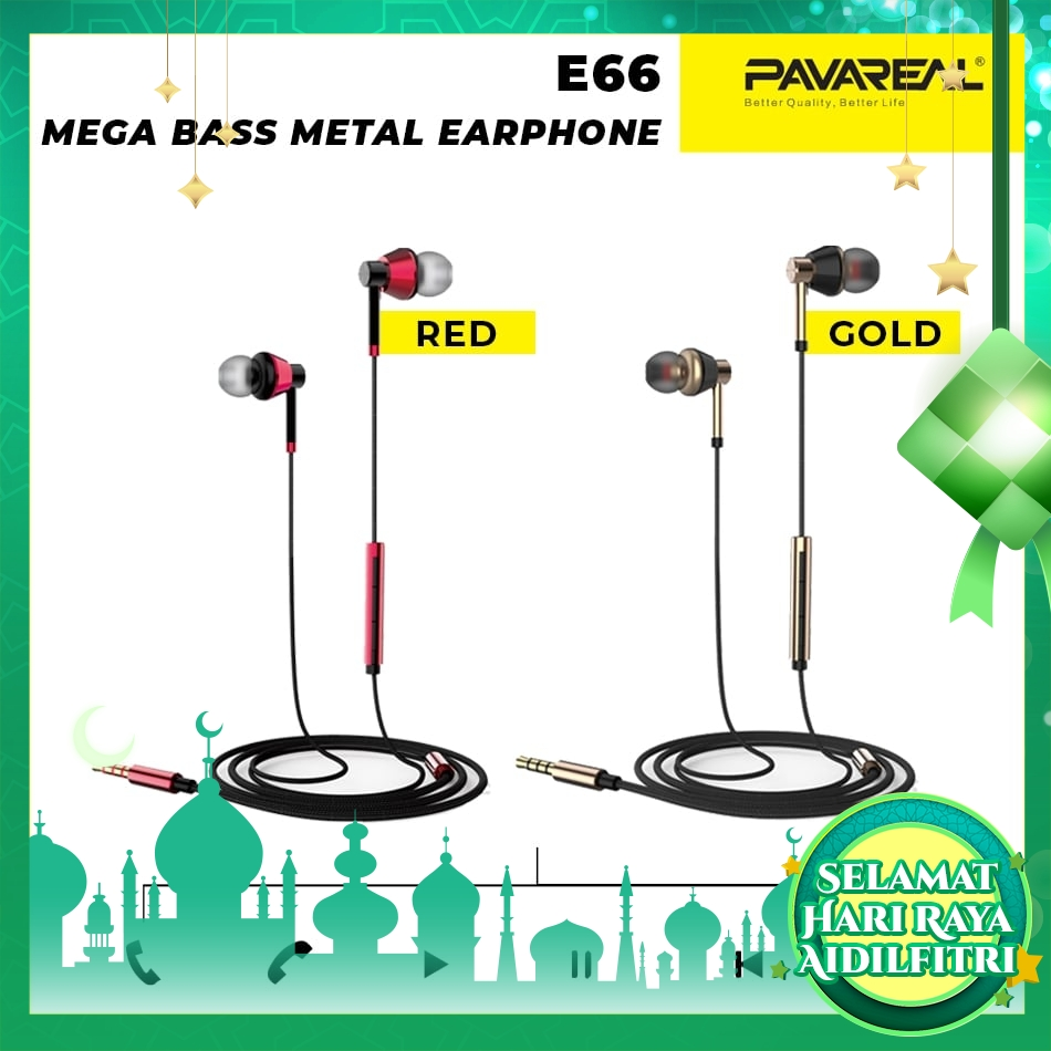 PAVAREAL PA-E66 Extra Bass Earphones In-Ear Headphones HIFi Subwoofer Stereo Powerful Heavy Bass Driven Mic Call Music