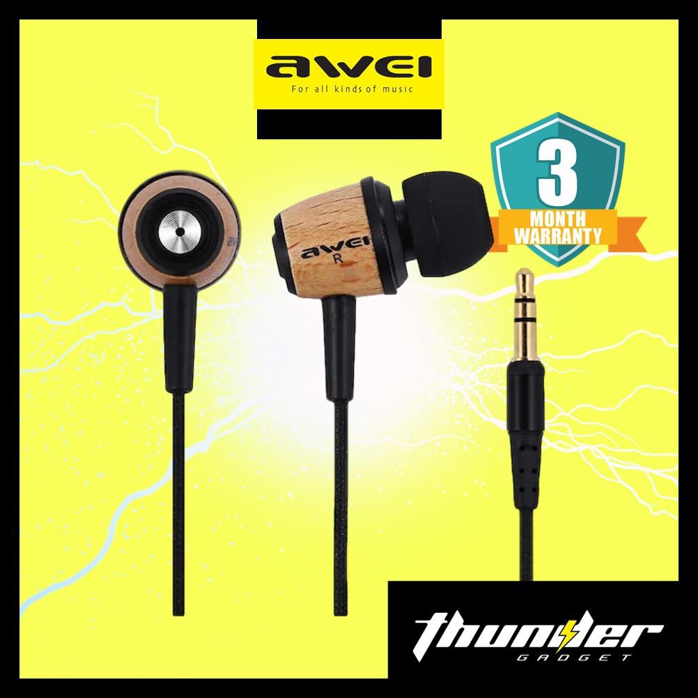 Awei ES80TY Wooden Wired In Ear Earphones