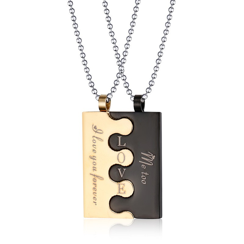 183a8f34d2 ProductImage. ProductImage. His Her Puzzle piece Couples Matching Promise  Forever Love Necklace Pendant